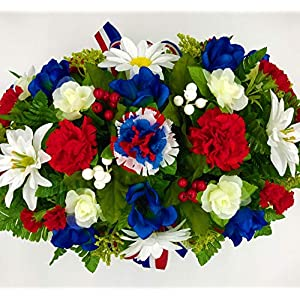 Large Father's Day July 4 Red White Blue Cemetery Flowers Headstone Saddle Spring Summer Decorations Memorial Arrangement