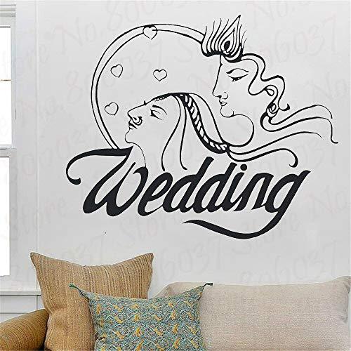 wZUN Decoración de la Pared Pegatinas de Pared de Boda Feliz Sala de Estar Dormitorio Papel Tapiz Retrato Creativo decoración del hogar 50X40cm