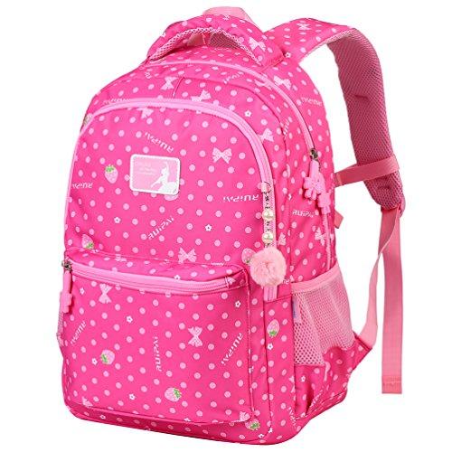 Vbiger Rucksack Mädchen Rucksack Kinder Schulrucksack Kinderrucksack Schultasche für mädchen 3-6 Klasse Rosa L