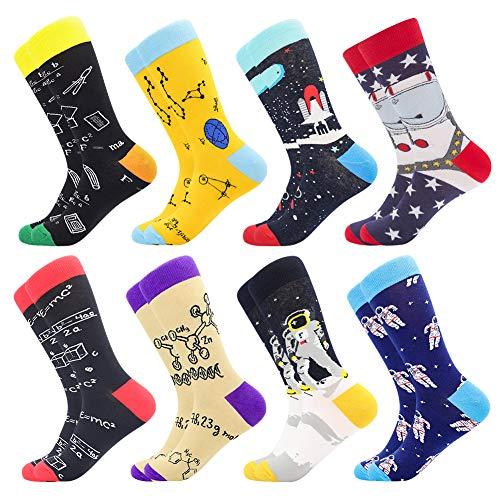 Herren witzige Strümpfe, Herren Bunte Lustige Socken, Fun Gemusterte Muster Socken, Verrückte Socken Modische Mehrfarbig Klassisch als Geschenk, Neuheit Sneaker Crew Socken (8 Paar-Spaceman1)