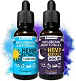 2-Pack Hemp Oil Extract for Pain, Anxiety & Stress Relief - New Day & Night Formula - 15,000mg & 30,000mg - 100% Organic Hemp Extract for Depression and Inflammation Reduction - Grown & Made in USA