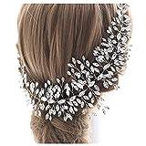 TOPQUEEN Tocado para novia, accesorio para el pelo, accesorio para bodas, plateado con estrás, peineta nupcial para el pelo, tiara, mariposas Hp237. Talla única
