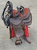 Countrypride - Set di sellette per cavalli di pony e shetland sintetici, 20,3 cm, colore: marrone