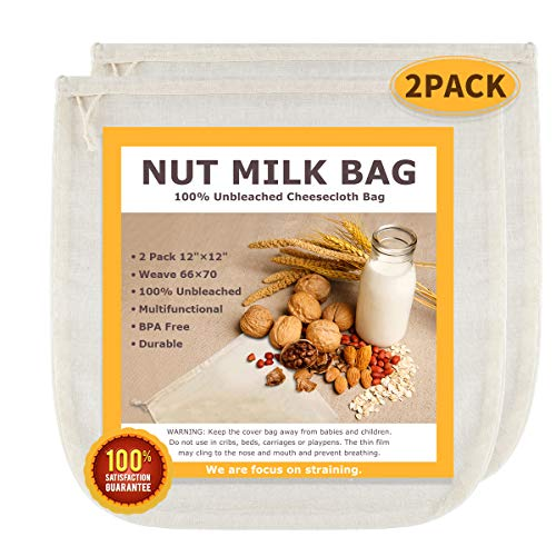 """Nut Milk Bags, All Natural Cheesecloth Bags, 12""""x12"""", 2 Pack, 100% Unbleached Cotton Cloth Bags for Tea/Yogurt/Juice/Wine/Soup/Herbs, Durable Washable Reusable Almond Milk Strainer(Weave 66x70)"""
