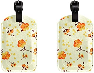 Orange FlowerLeather Luggage Tags Suitcase Labels Bag Travel ID Bag Tag, 1 Pcs