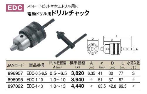 トップ(TOP) 電動ドリル用 ドリルチャック EDC-1-13