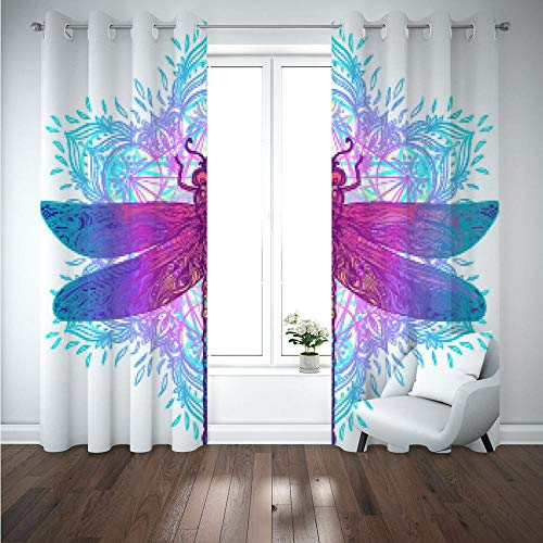 HUILIYI 3D Blackout Curtains Animal dragonfly Eyelet Ring Window Curtain Thermal Insulated Opaque Reduce Noise Baby Room Decoration CurtainW46 x H72(234x183cm)