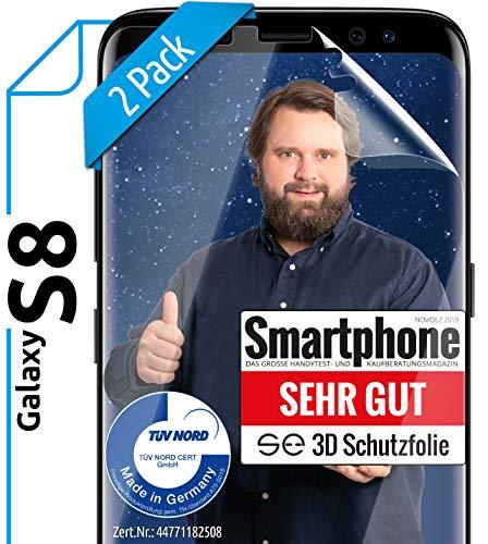 [2 Stück] 3D Schutzfolien kompatibel mit Samsung Galaxy S8 - [Made in Germany - TÜV Nord] – HD Bildschirmschutz-Folie - Hüllenfre&lich – Transparent – kein Glas sondern Panzer-Folie TPU - Klar