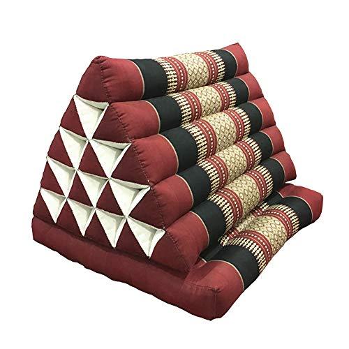 Thai Cushion, 100% Natural Kapok Filling, Foldable Thai Mat with Triangle Cushion, Headrest, Thai Pillow,Red & Black