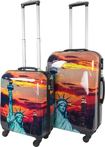 normani 2 Teiliges ABS Hartschalen Kofferset mit Motiv Farbe Statue of Liberty