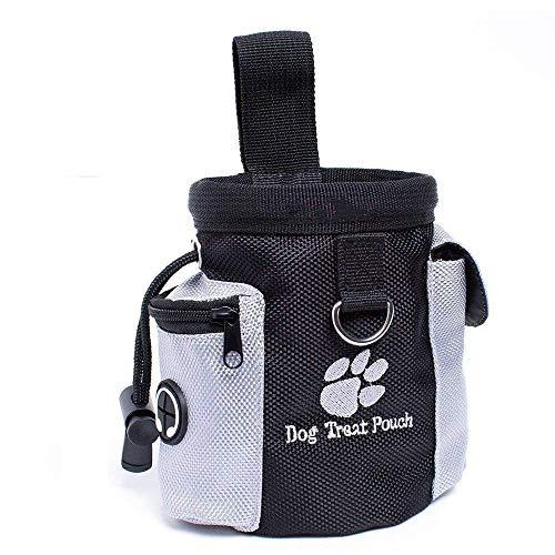 Voarge Futterbeutel für Hunde, Tragbarer Imbissbeutel, Lebensmitteltasche, Eingebautem Poop Tasche Spender, Gürtel Verschliesbare Öffnung
