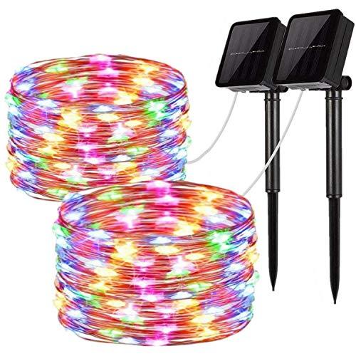 [2 Pack] Solar String Lights, 100LED 33Ft/10M Waterproof Fairy Lights Outdoor/Indoor 8 Modes Starry Lights Garden Lights Copper Wire Lighting for Wedding, Patio, Yard, Festoon, Christmas (Multicolor)