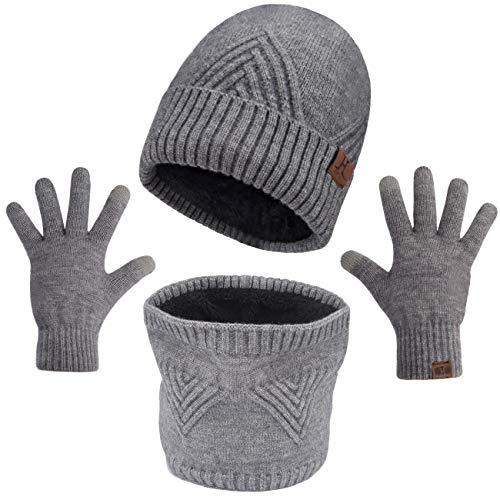 Maylisacc 3 stks Winter Beanie Muts Snood Sjaal en Gebreide Touchscreen Handschoenen Heren Vrouwen Thermische met Dikke Zachte Fleece Voering