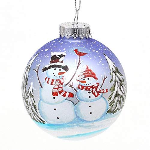 Dekohelden24 - Decorazione per albero di Natale Lauschaer – Palla di Natale in bianco/viola con design pupazzo di neve, vetro soffiato e decorato a mano, Ø 8 cm
