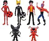 Ladybug Cake Topper Mini Juego de Figuras Niños Mini Juguetes Baby Shower Fiesta de cumpleaños Pastel Decoración Suministros 6 piezas