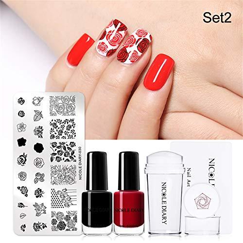 NICOLE DIARY Nail Stamping Kit 6ml Nero Rosso Nail Polish Stamping Templates Nail Stamper Scraper