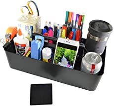 New Plastic Portable Craft Storage Organizer Caddy Tote, DIY Divided Basket Bin with Handle for Craft, Sewing, Art Supplies - Holds Paint Brushes, Colored Pencils, Markers, Yarn - Made in USA