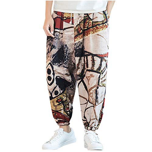 Learn More About FEDULK Men's Vintage Lantern Pant Plus Size Retro Ethnic Print Cotton Linen Holiday...