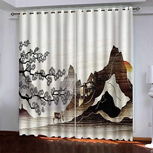 WLHRJ Cortina Opaca en Cocina el Salon dormitorios habitación Infantil 3D Impresión Digital Ojales Cortinas termica - 160x115 cm - Paisaje de montaña al Amanecer