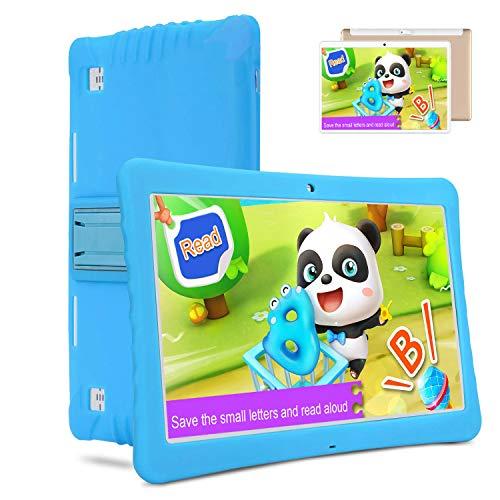 Tablets 10.1 Pulgadas 4G, Android 9.0 3GB RAM 32GB ROM Tableta PC, Quad-Core Dual SIM 8MP 8000mAh Bluetooth/WiFi/OTG /Netflix Moviles Buenos o Tablets Puede Llamar Tableta para niños (Azul)