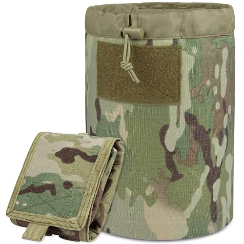 ACETAC Dump Pouch Mega Roll Up Pouch Drawstring Magazine Tactical Utility Pouch, MOLLE System Compatible & Belt Access, Fits Up to 10 30-Round 5.56 PMAGS, and 100+ Mini Shell (Multicam)