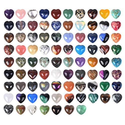 Justinstones Gemischte Edelsteine, klein, 20 mm, geschwollenes Herz, Heilkristall, Taschenstein, Fels-Sammelbox, 24 Stück