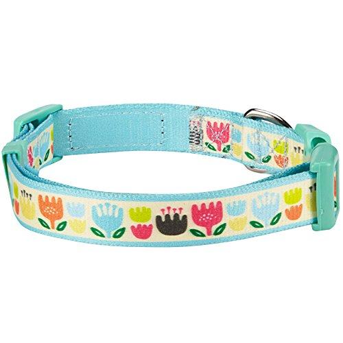 Blueberry Pet Ostern Bunte Tulpen Designer Hundehalsband in Pastellblau, M