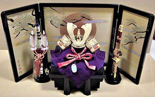 五月人形 兜飾り 金錦屏風 伊達政宗タイプ サイズ 間口70 奥行28 高40cm