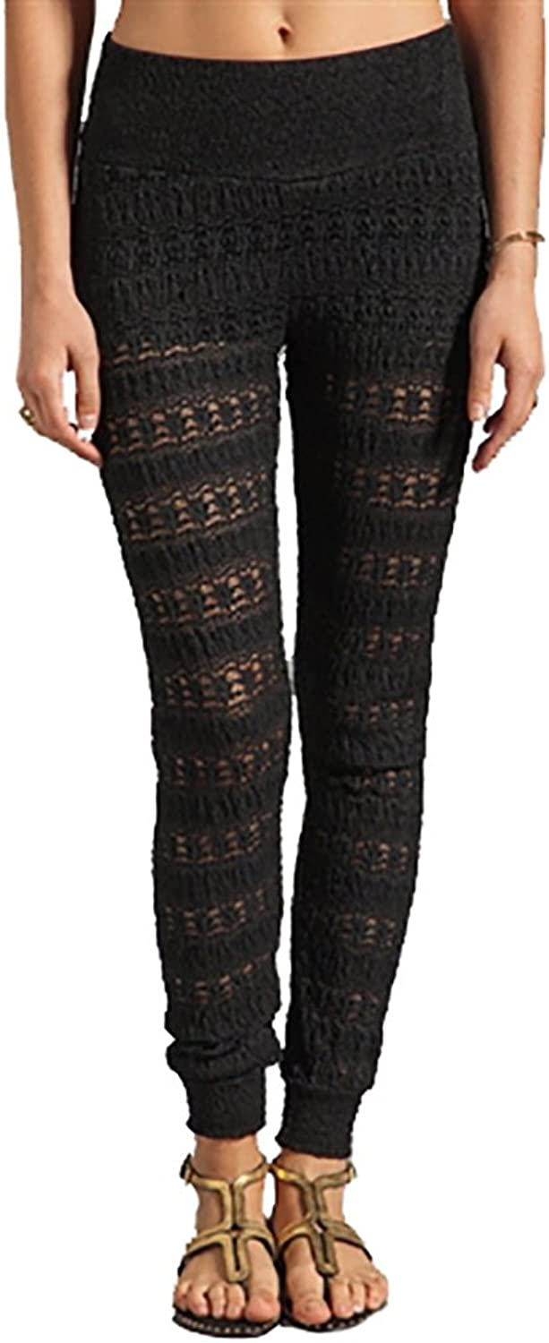 Nightcap Women's Clothing Autumn Leaf Sheer Lace Pant in Black