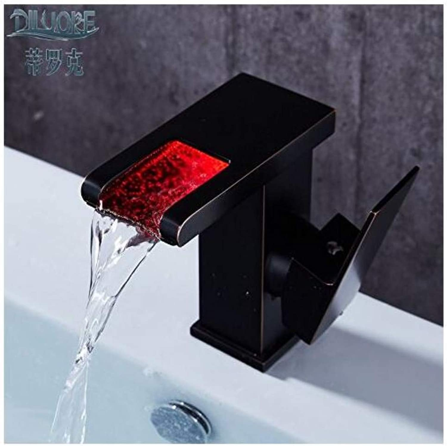 Modern Double Basin Sink Hot and Cold Water Faucetfaucet Hot and Cold Wash Basin Bathroom, Luminous Faucet