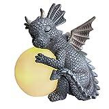 RYUNQ Estatua de Jardín de Dragón Lindos Adornos de Dinosaurio Patio al Aire Libre Meditación Figura de Animal Decoración Césped de Resina Esculturas Regalo Creativo (D)
