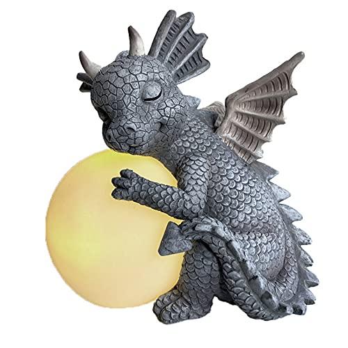 RYUNQ Drachen Garten Statue Nette Dinosaurier-Ornamente im Freien Hof Meditation Tierfigur Dekoration Harz Rasenskulpturen Sammlungen Kreatives Geschenk (D)