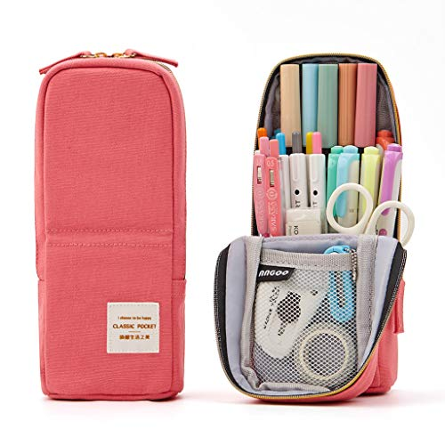 ANGOOBABY Standing Pencil Case Canvas Pencil Pouch Pen Bag for Teen Girl Boy Students (Pink)