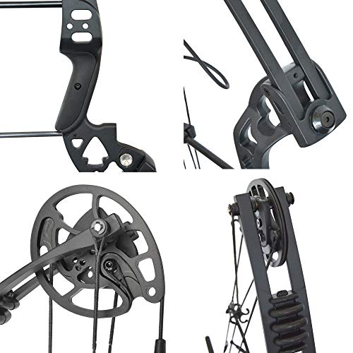 SHARROW Archery Compound Bows Kit 30-55lbs Adjustable Adult HellBow Aluminum Right Hand with All Accessories for Outdoor Bow Hunting (Black+Arrows)