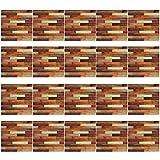 AIYIYOO 20 Piezas de imitación de Grano de Madera pelar y Pegar azulejo Etiqueta de la Pared del Piso DIY Autoadhesivo Cocina baño decoración Fondos de Pantalla para Paredes Sala de Estar