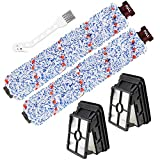 2 Pack 1868 CrossWave Multi-Surface Brush Rolls 2 Pack 1866 HEPA Vacuum Filters Replacement for Bissell CrossWave 1785 2306 Series Vacuum Cleaner, Compare to Part # 1608683, 160-8683, 1608684