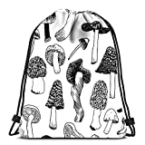N / A Bolsas con cordón Mochila Setas Creativo Contorno Negro Arte Trabajo Viaje Gimnasio Bolsas Mochila Bolsas de Hombro 36 x 43 cm / 14.2 x 16.9 Pulgadas