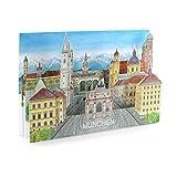 Pop-Up-Karte / 3 D-Karte:'MÜNCHEN' - mit Liebe gemachte Städtekarte, die man als Deko verwenden kann. Eine besondere München-Grusskarte - oder ein schönes Souvenir