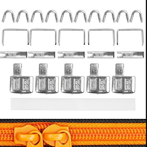 Reißverschluss Reparatur Set, für RV Größe #8, Endstücke oben + unten, Ersatz Zubehör für NYLON Reißverschlüsse, Reißverschluss Stopper für oben und unten, für Jacke, Rucksack, Koffer, Reparatur KIT