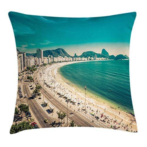 ABAKUHAUS Vintage Beach Funda para Almohada, Copacabana Beach Art, Funda para Almohada Estampado en Ambos Lados, 60 x 60 cm, Multicolor