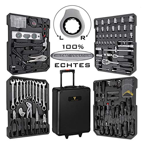STAHLWERK WR-1 ST - Caja de herramientas con ruedas (186 piezas, para...