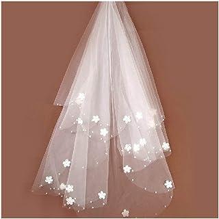 HXSD Brides Ivory wedding veil tulle Beaded Flower Bridal Veils 2020 (Color : Ivory, Item Length : 120CM)
