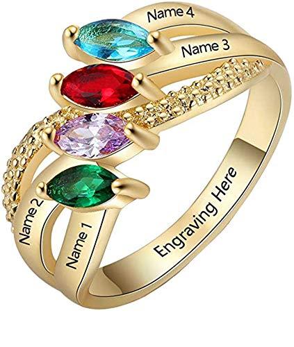 Anillo de nombre de bricolaje personalizado 4 anillos de piedra natal anillo cruzado anillo de promesa graduación para mujeres(Chapado en oro de 18 k 20.25)