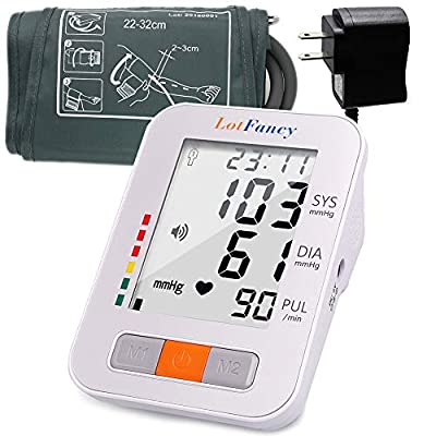 """Blood Pressure Monitor Upper Arm by Lotfancy, 4Users, 120 Memory, Accurate Automatic Accurate BP Machine with Medium Cuff (8.6""""-14""""), Digital BP Meter with Large Display,Adapter Included"""