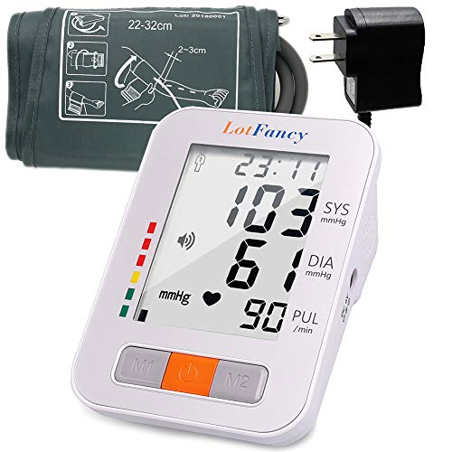 "Blood Pressure Monitor Upper Arm by Lotfancy, 4Users, 120 Memory, Accurate Automatic Accurate BP Machine with Medium Cuff (8.6""-14'), Digital BP Meter with Large Display,Adapter Included"