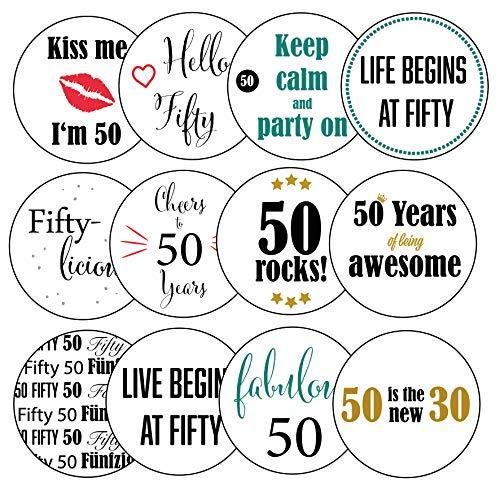 12 Aufkleber mit Motiv für Geburtstagsfeier, 6 cm Durchmesser, 50. Geburtstag - Sticker - Geburtstagssticker - 50. Geburtstag