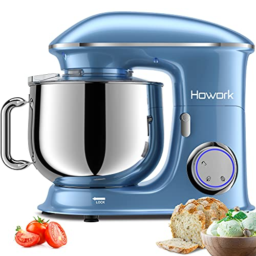 HOWORK Stand Mixer, 8.5QT Bowl 6+0+P-Speed Tilt-Head 660W Kitchen Dough Mixer, Planetary Mixing Electric Kitchen Mixer With Dough Hook, Beater & Egg Whisk, Dishwasher Safe (8.5 QT, Blue)