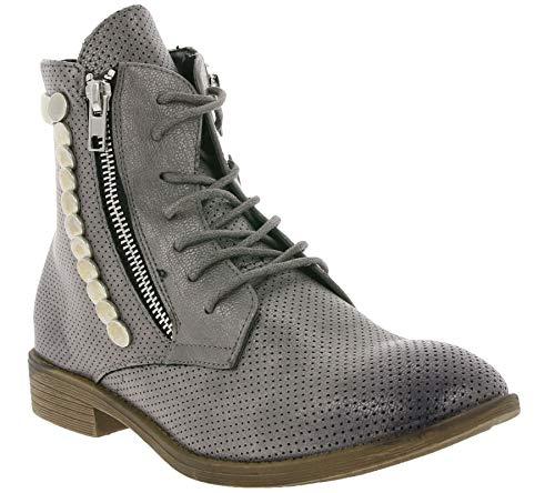 Arizona Schuhe Boots Coole Damen Schnür-Stiefeletten Stiefel Frühling Grau Used, Größe:37