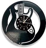 LICCC Horloge Murale en Vinyle Disque Vinyle Horloge Murale, Guitare électrique Thème Idée Cadeau, la Main Accueil Horloge Murale