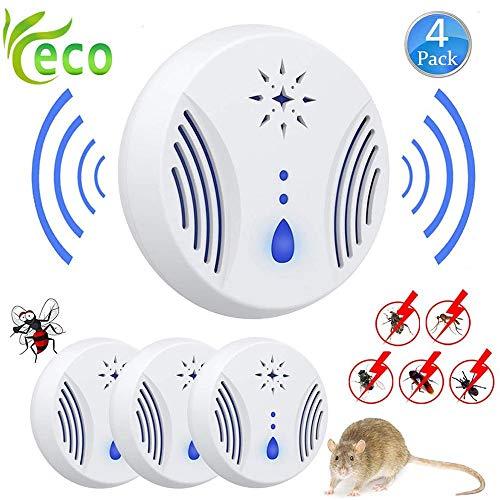 Slyabz ongediertebestrijder muggenbescherming stopcontact, ongediertebestrijder door ultrasone geluid, om schade van muggen, spinnen, mieren en kakkerlakken muggen motten te voorkomen. Set van 4 stuks